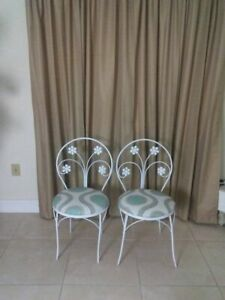 Vintage White Bistro Metal Chair Upholstered Seat Set of 2