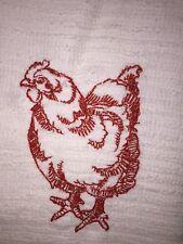 Embroidered Kitchen Bar Towel- CHICKEN HEN - Dark Orange Silhouette  BS1129