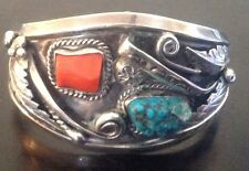 "GORGEOUS ""SIGNED"" VINTAGE NAVAJO LONE MOUNTAIN TURQUOISE,CORAL & STERLING CUFF"