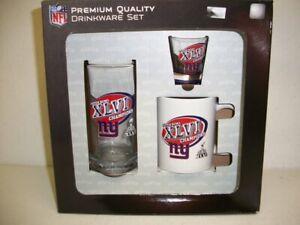 New York Giants Superbowl Champions 3 Pc Drinkware Set Coffee Mug Glass Shot