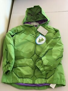 NWT Disney Store Hulk Packable Raincoat Jacket Attach Carry Bag Avengers