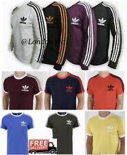 Adidas Originals Mens Tshirt 3Stripes California Short/Long Sleeve Crew Neck M L