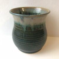 Studio Art Pottery Glaze Vase - Artist Signed - Green & Blue
