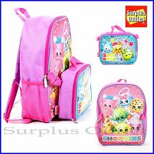 """Shopkins Backpack 16"""" Large Backpack with Detachable Lunch Bag"""
