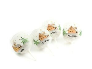 Czech glass Christmas wreath candle holders hand painted winter scene white (4)
