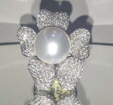 18K WHITE GOLD FLOWER DIAMOND PEARL RING 4.16CT