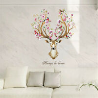 sika deer head flowers wall stickers wall decals kids home decor removable TDCA