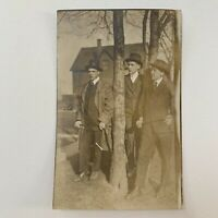 Antique Real Photograph Postcard RPPC Group Photo Handsome Young Men In Hats