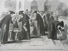 Gravure 1872 - Pèlerinage de Lourdes Les Frères lavant avec eau Miraculeuse
