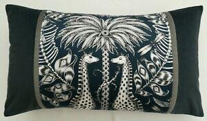 Emma J Shipley KRUGER NAVY cushion, 48cm x 28cm approx **FREE FEATHER PAD**
