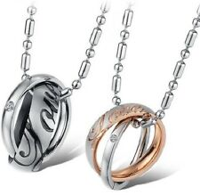 NEW 316L Stainless Steel Rings Best Friend Love Forever Set Pendants 2 Necklace