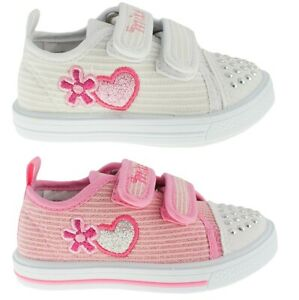 Girls canvas shoes trainers sneakers size 3-7UK BABY SPARKLY pumps Leather sole!