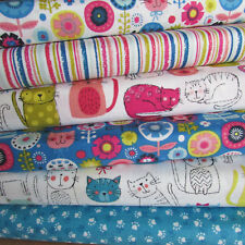 Kitty for Makower 100% cotton patchwork & quilting fabric per FQT cats flowers