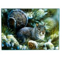 Russian Lacquer Box. Fedoskino Malachite Box Style Trinket Box w/ Squirrel Print