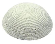 """Medium Jewish White Plain With Holes Knitted Kippah Yarmulke 20 Cm 8.7"""""""