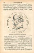 Sir John Franklin Médaillon de David d'Angers / Île Beechey Canada GRAVURE 1855