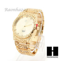 Iced LUXURY TECHNO PAVE GOLDEN NUGGET METAL BAND WRIST BRACELET WATCH MM001G