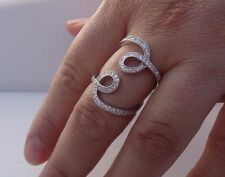 925 STERLING SILVER LADIES DESIGNERS RING W/ 2 CT DIAMONDS /SIZE 5,6,7,8,9