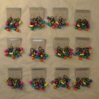 VINTAGE RETRO 80s COLORFUL DANGLE DROP EARRINGS NOS LOT 12 PAIR FREE SHIPPING FG