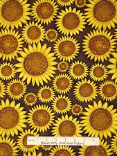 Sunflower Fabric - Sun Flowers Brown HG&Co Good Morning Sunshine #9747 - YARD