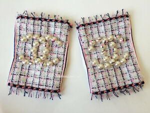 NEW CHANEL 14P WHITE PINK NAVY PEARL LEATHER TWEED FINGERLESS GLOVES 7.5