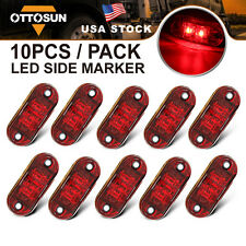 """10 Pcs Red LED Lamp 2.5"""" 2 Diode Oval Clearance Trailer Truck Side Marker Light"""