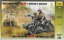 Zvezda World War Two Soviet Motorcycle M-72 w/Sidecar & Crew 1/35 Scale Model