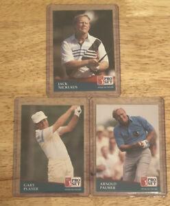 1991 Pro Set Lot Of 3 Gary Player Jack Nicklaus Arnold Palmer Golf Cards Fresh