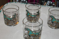 Lot of 4 Vintage Mid Century Barware Horse Sulky On The Rocks Glasses Gold green