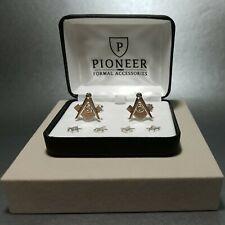 Pioneer Mason Insignia silver tone Studs & Cufflinks Set