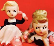 PINK PRINCESS PHONE 1950s Girl Figurine Retro Vintage Napco Norcrest Lefton Rare