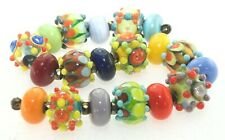 OliveStuart Handmade Lampwork Beads 19 bright round