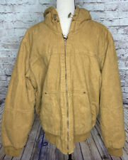 GH Bass Hooded Sherpa Lined Tan Canvas Work Jacket L