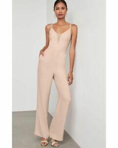 BCBG Max Azria Eva Sleeveless Illusion Evening Jumpsuit Bare Pink * Small $268