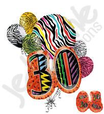 7 pc Still Wild at 30 Happy Birthday Colorful Zebra Print Balloon Bouquet 30th