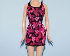 Pink, Purple, Black Heart Short Mini Dress Genuine BARBIE Fashion Clothes