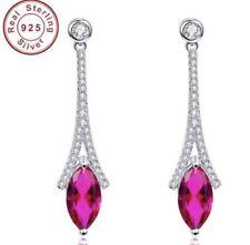 925 Sterling Silver Ruby Marquise Cut Dangle Earrings QUALITY- SALE! Reg. $79