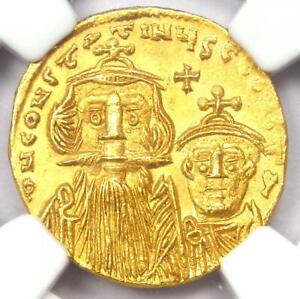 Constans II with Constantine IV AV Solidus Gold Coin 654-668 AD - NGC MS (UNC)