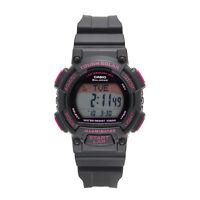Casio Ladies' Tough Solar Runners Pink Accent Black Resin 36mm Watch STLS300H-1C