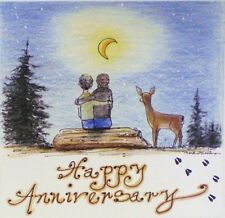 Art Greeting Card Couple Love Happy Anniversary Woods Deer Moon Picture