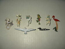 8 Small Whimsical Vintage White Metal & Enamel Animal Figural Brooch Pins Lot