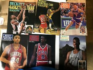 Beckett Basketball 6 Early Magazine Lot including Michael Jordan Front Cover