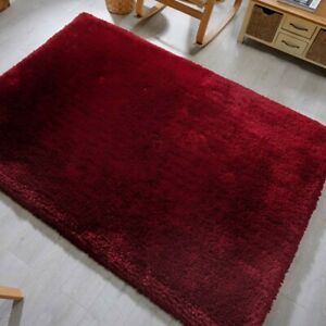 Mega Thick Shaggy Rugs In Claret / Red - 7cm Deep Plush Pile 160x230cm