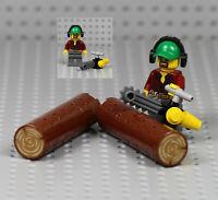 LEGO - Lumberjack w/ Tree Logs & Chainsaw Logging Trunk Minifigure Plants 60181
