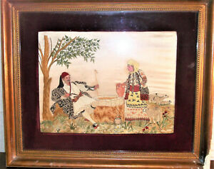Embroidered Hand Work of Art (painting) early 1900 late 1800