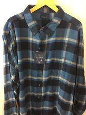 Croft & Barrow Shirt Size 3XLT Tall Flannel True Comfort Buffalo Plaid Blue E2
