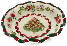 Christmas Tree and Flowers Greenbrier Serving Bowl Ruffled Edge Boston Warehouse