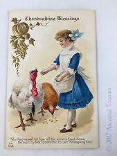 "1912-13 Antique Postcard, E. Nash, ""Thanksgiving Blessings"" (3)"