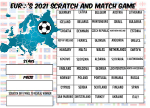 EURO'S 2021 FOOTBALL Scratchcard Game Guess The Team Name 50 Players Squares