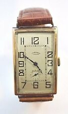 W615- JW Benson Yellow Gold  Hand-Winding Rectangle Watch Brown Leather Band